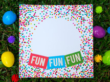 fun, fun, fun, confetti border invitation in grass