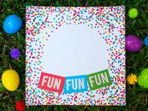fun, fun, fun, confetti border invitation in grass