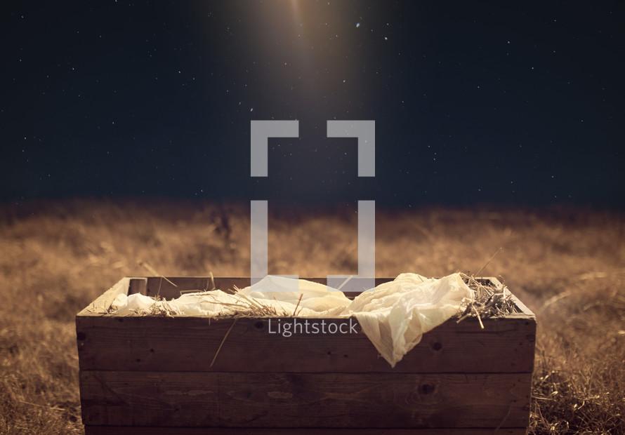 Star light shining on the manger