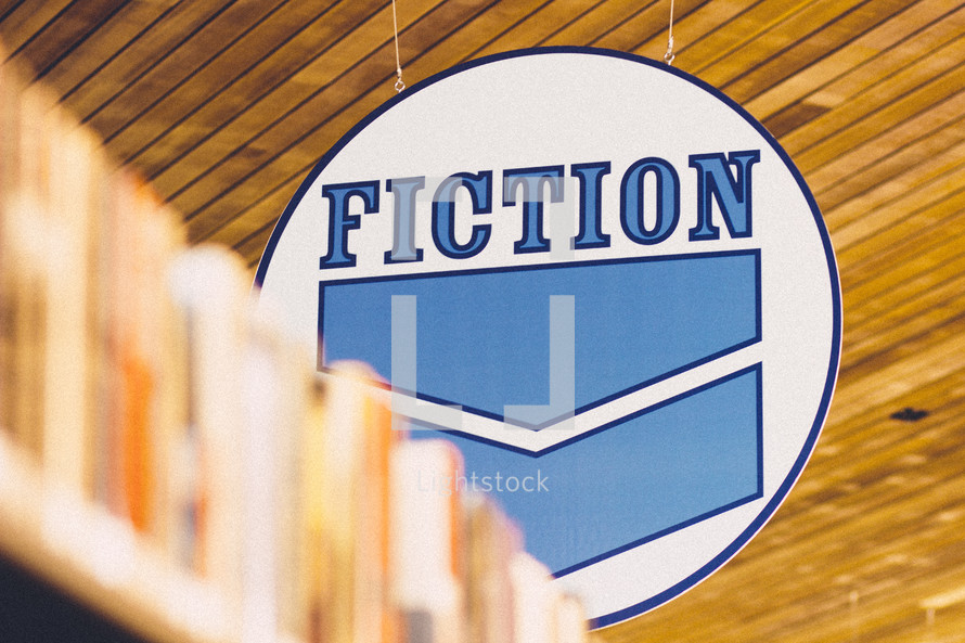 A fiction sign in a library.
