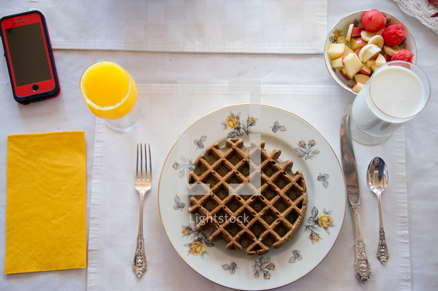 waffle on a plate for breakfast