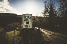 rural speed limit sign