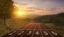 a running track and land