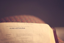 Bible open to the book of Galatians.