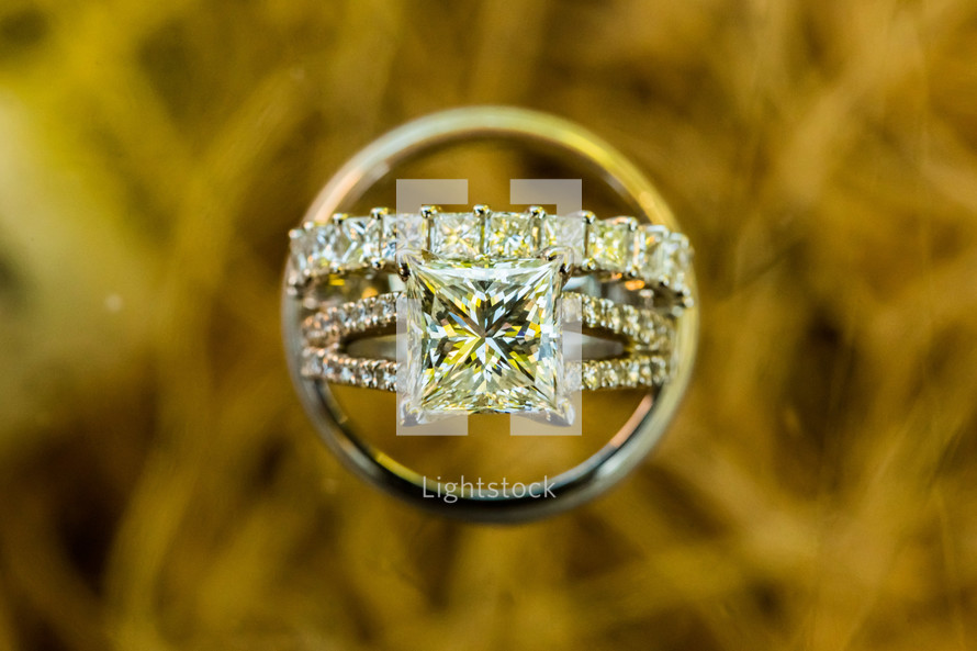 Wedding rings, square diamond, solitaire jewelry