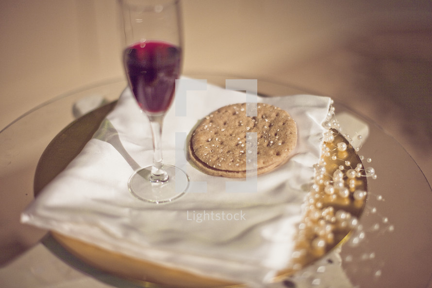 communion plate on table