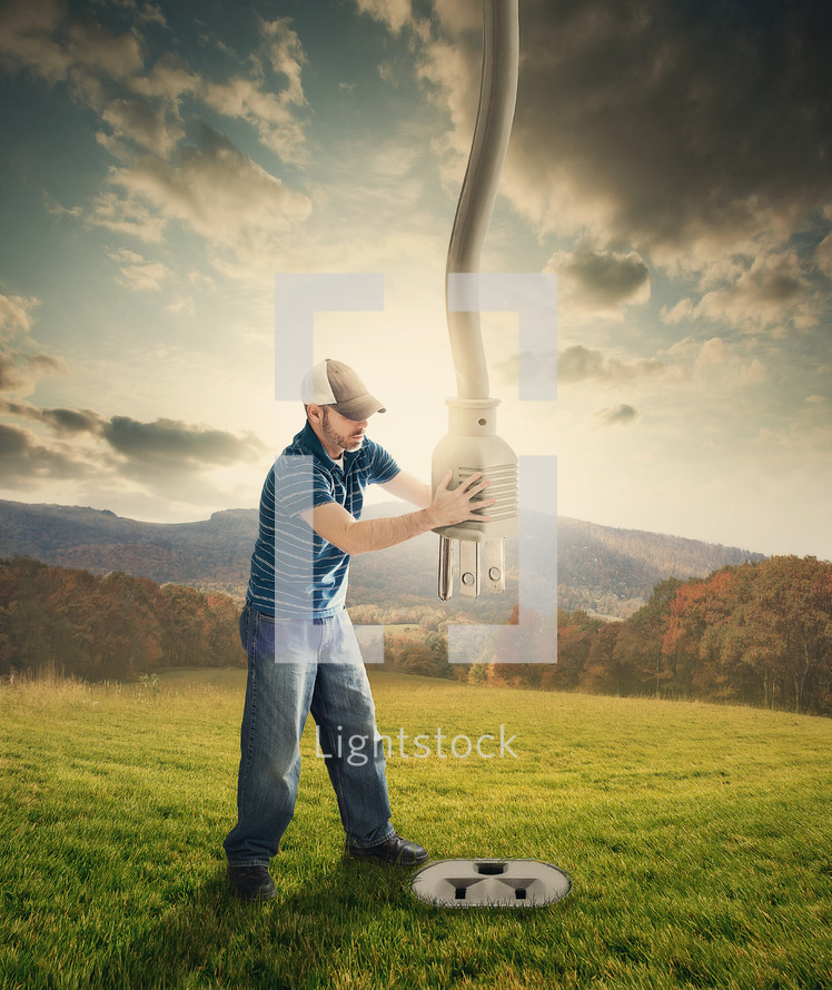 Man plugging heaven into the earth.