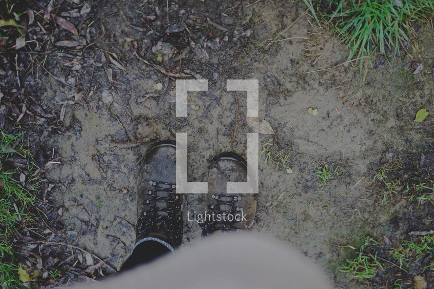 boots standing in mud