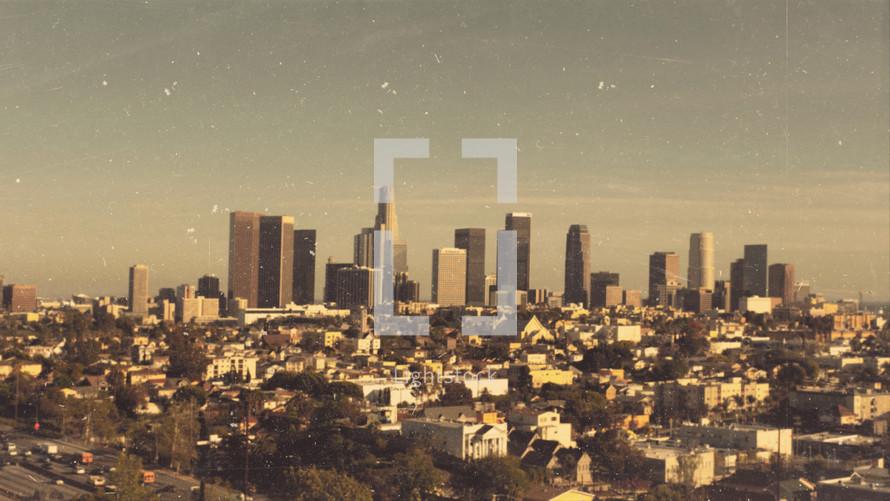 City skyline on the horizon.
