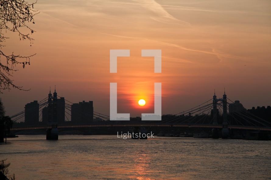 City bridge at sunset