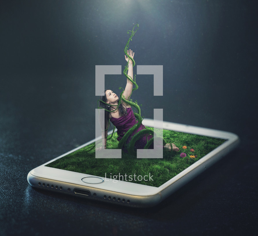 A woman trapped in vines from a cell phone