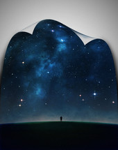 A figure standing on the edge of the earth beneath  a sky full of stars.