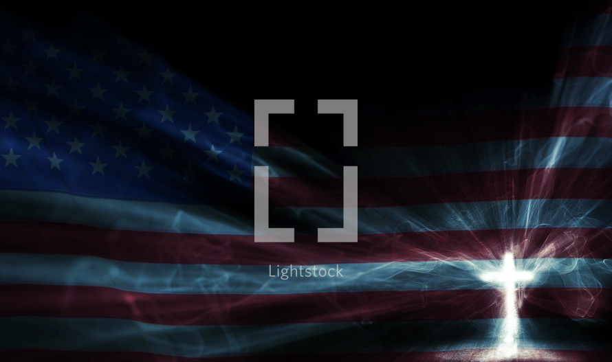 American flag and cross in light