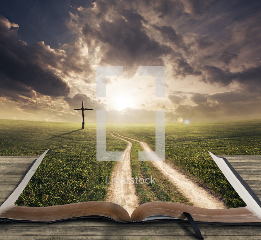 path over the pages of a Bible