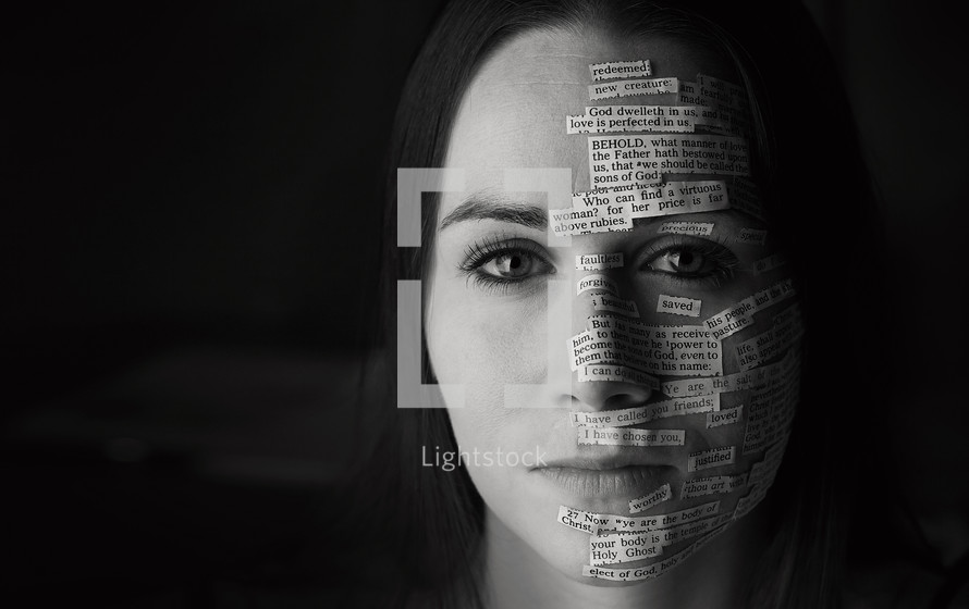 a woman with scripture on her face