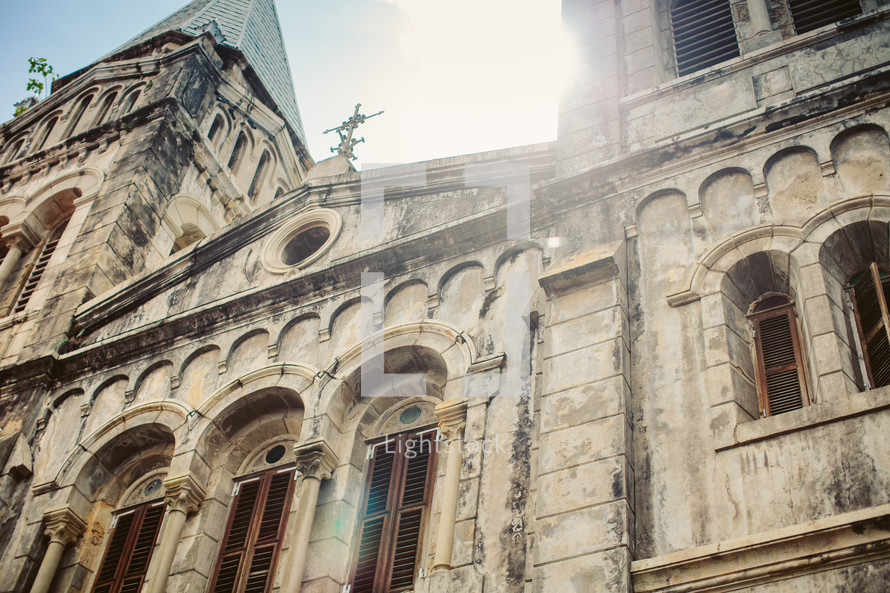 looking up to the top of an old cathedral