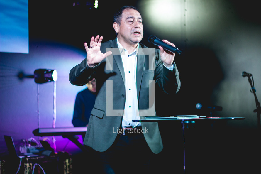 preaching during a worship service