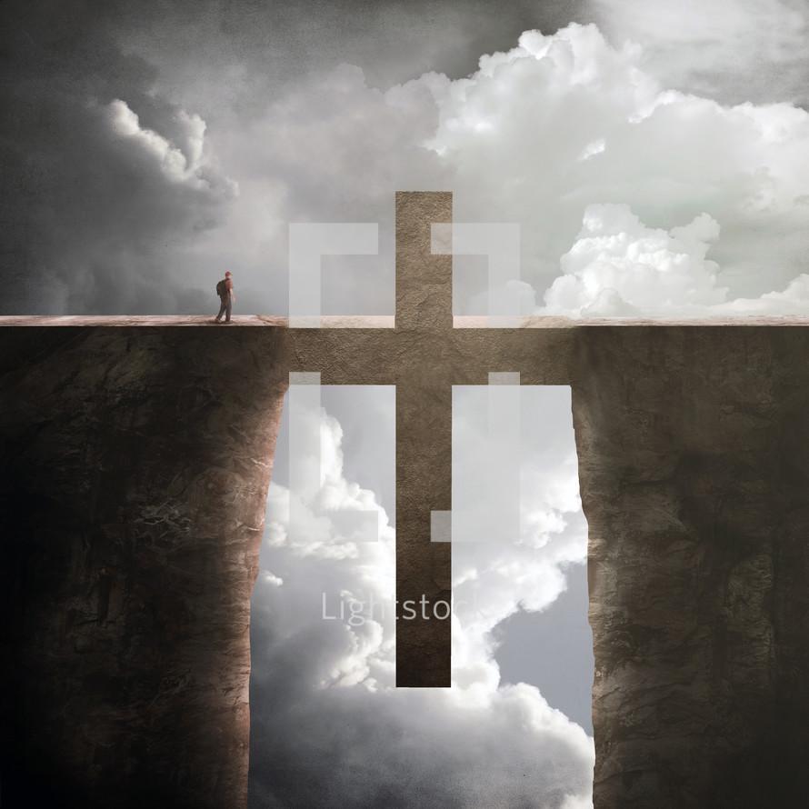 cross forming the way across a deep ravine