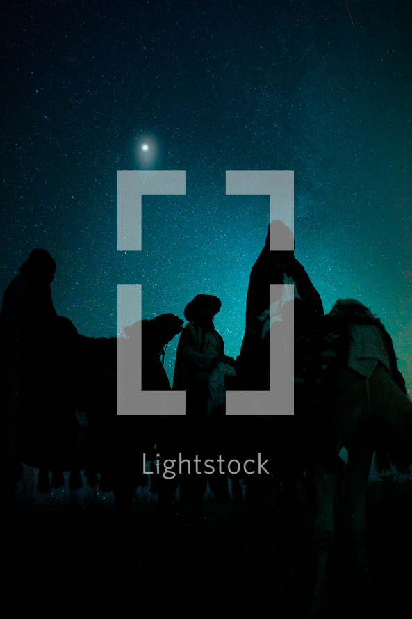 wisemen traveling on camels at night
