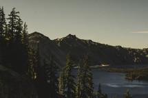 Trees and mountain around a lake