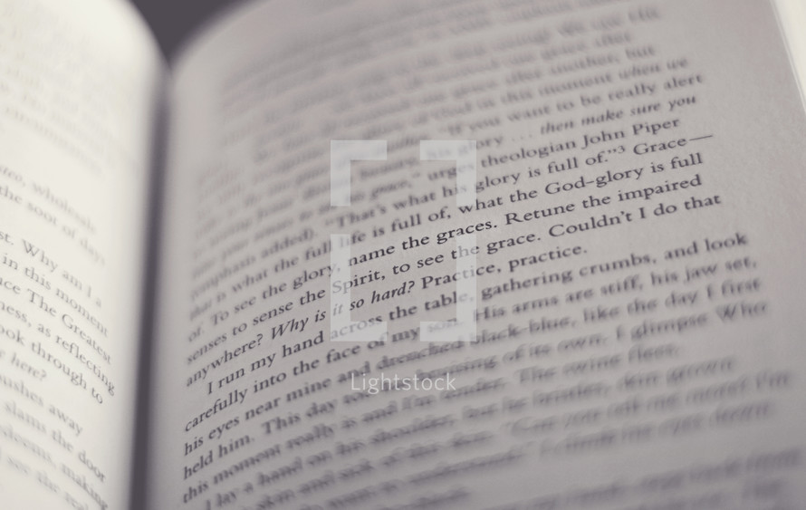 Text on the inside pages of a book.