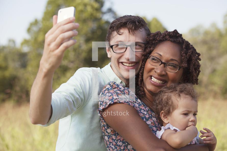 family taking a selfie