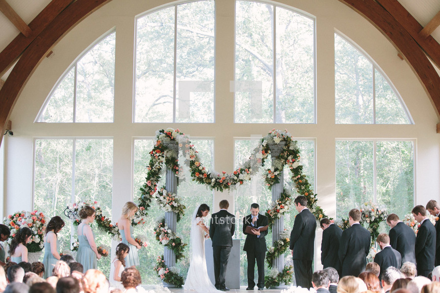 Wedding party at the altar