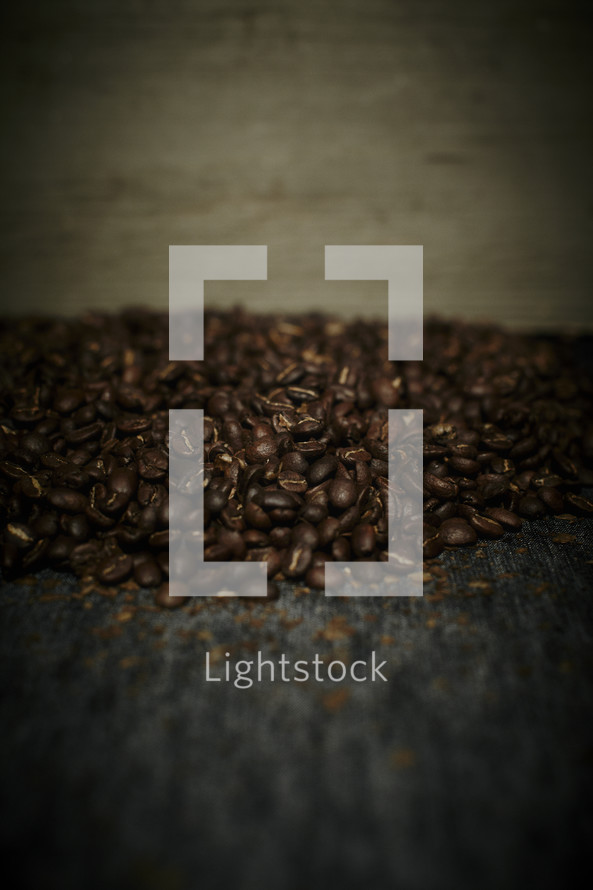 Coffee beans piled together