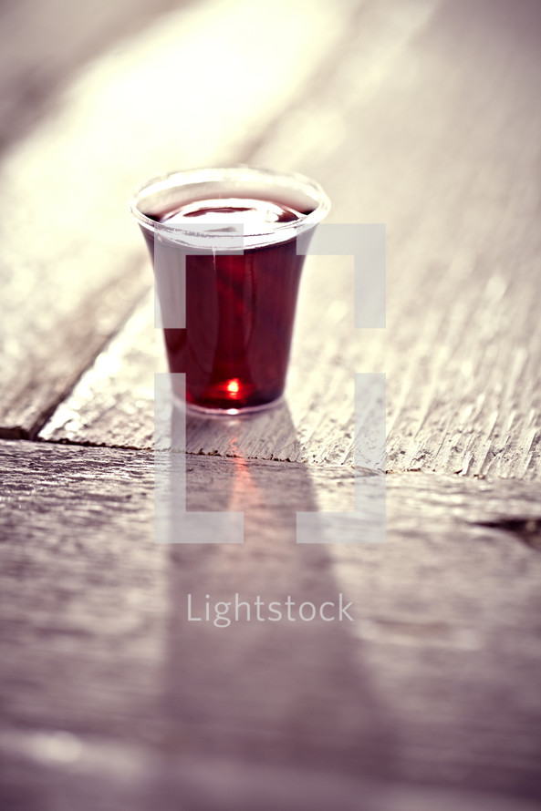 A communion cup filled with wine