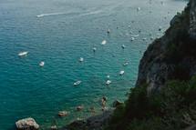 boats along a coastline in Italy
