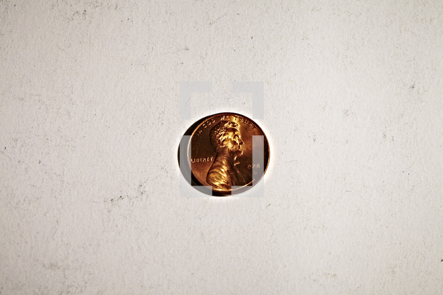 A penny isolated on white