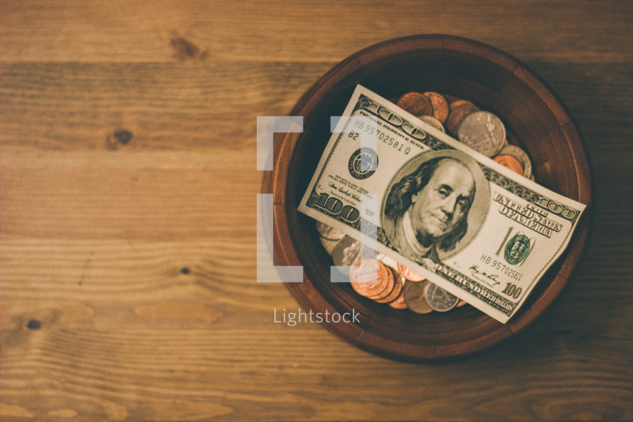 money in a bowl