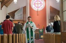 a priest giving a sermon