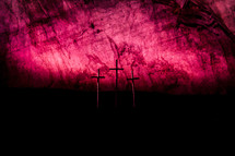 Good Friday Crosses against a red sky