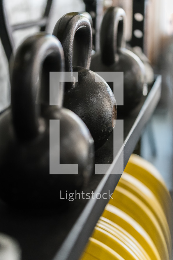 kettle bell weights at a gym