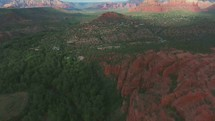 aerial view over red rocks peaks in Sedona