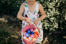 a girl on an Easter egg hunt