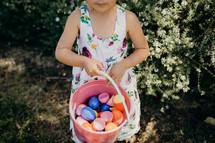 a girl on an Easter egg hunt