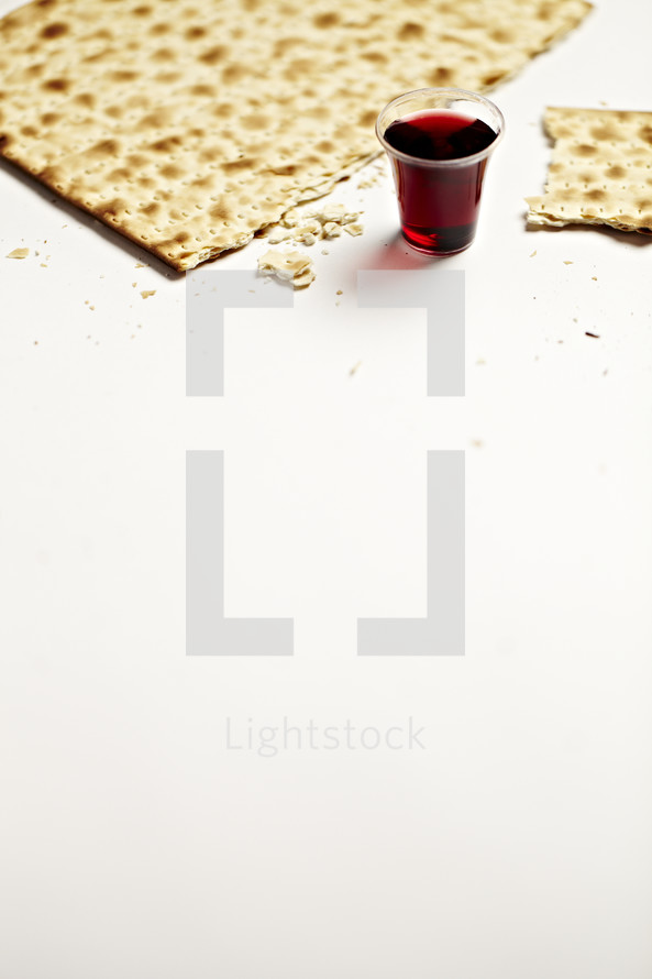 Broken unleavened cracker and a communion cup filled with wine