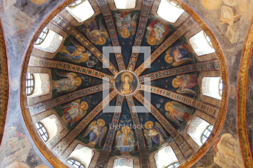 paintings on the dome of a church