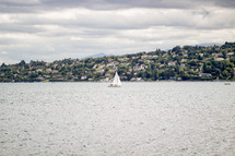 sailboat on the water in Switzerland