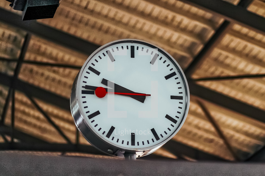 clock at a train station in Switzerland
