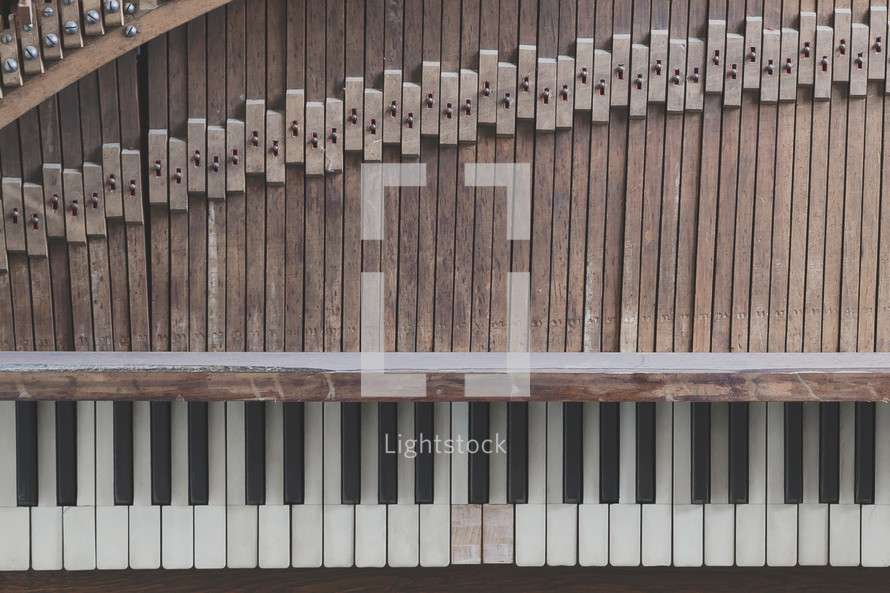 Old piano or keyboard instrument for worship music