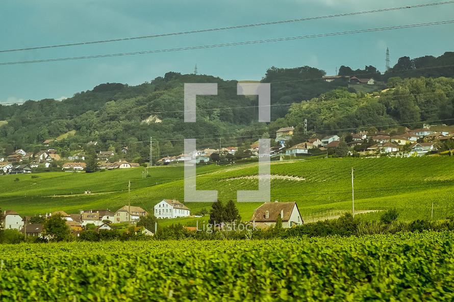 rural hillside village in Switzerland
