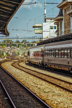 train on the tracks in Switzerland