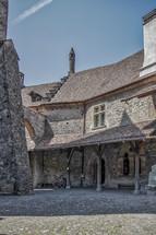 stone house and cobblestones