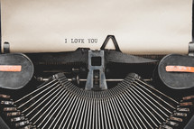 I love you on a vintage typewriter