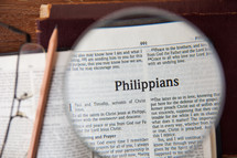magnifying glass over Philippians