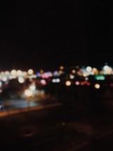 Bokeh city lights at night.