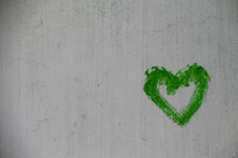 Green painted heart for St. Patrick's day